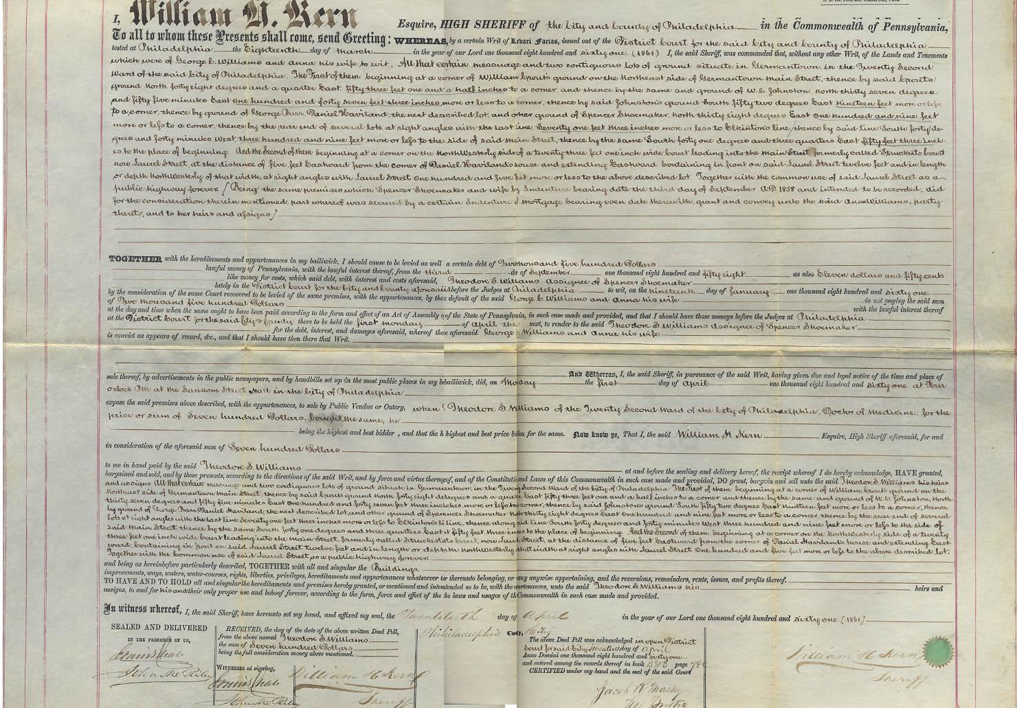1861 Deed William H Kem Sheriff to Theodore S Williams Philadelphia