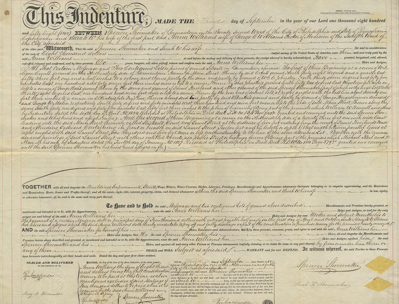 1858 Deed Spencer Shoemaker & wife to Anna Williams Philadelphia