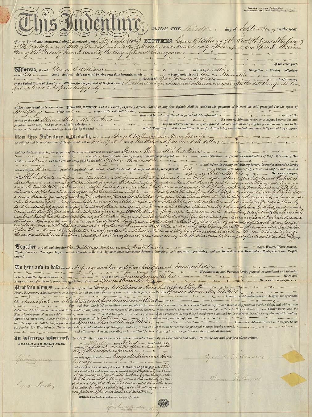 1858 Mortgage George C Williams & Wife to Spencer Shoemaker Philadelphia