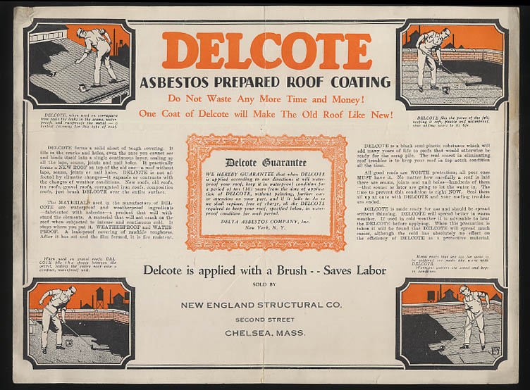 Delta Asbestos sell sheet Deltite Roofing Delcote Asbestos ca 1920s