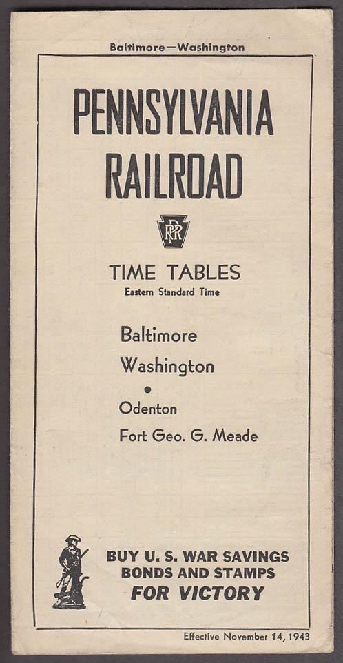 Pennylvania Railroad Time Tables Balto-DC-Odenton-Ft Meade 1943