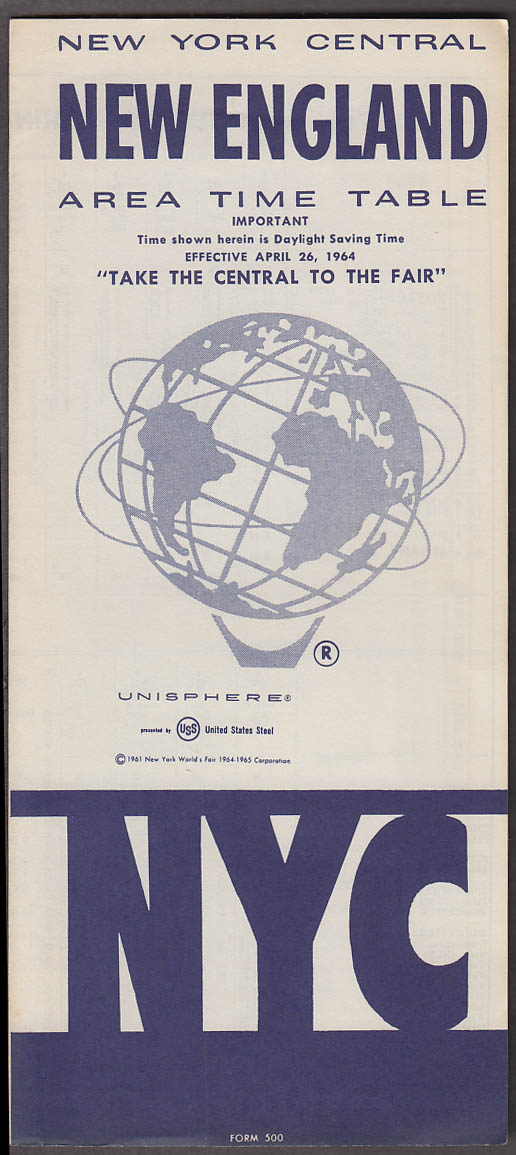 Image for New York Central New England Area Time Table 4/26 1964 World's Fair