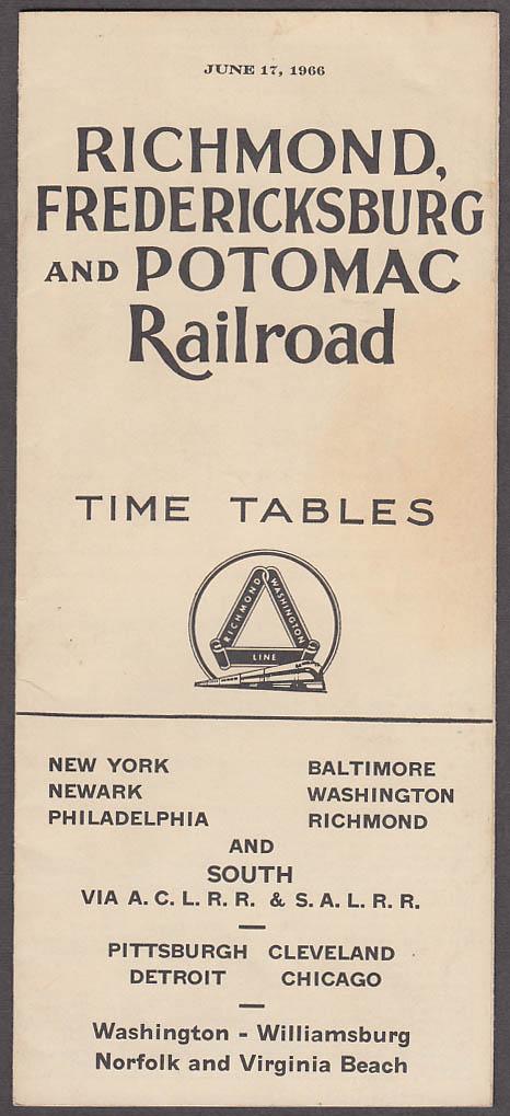 Image for Richmond Fredericksburg & Potomac Railroad Time Tables 6/17 1966