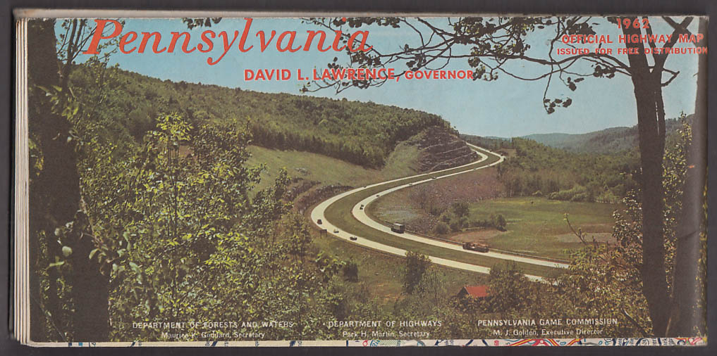 Commonwealth of Pennsylvania Official Highway Road Map 1962