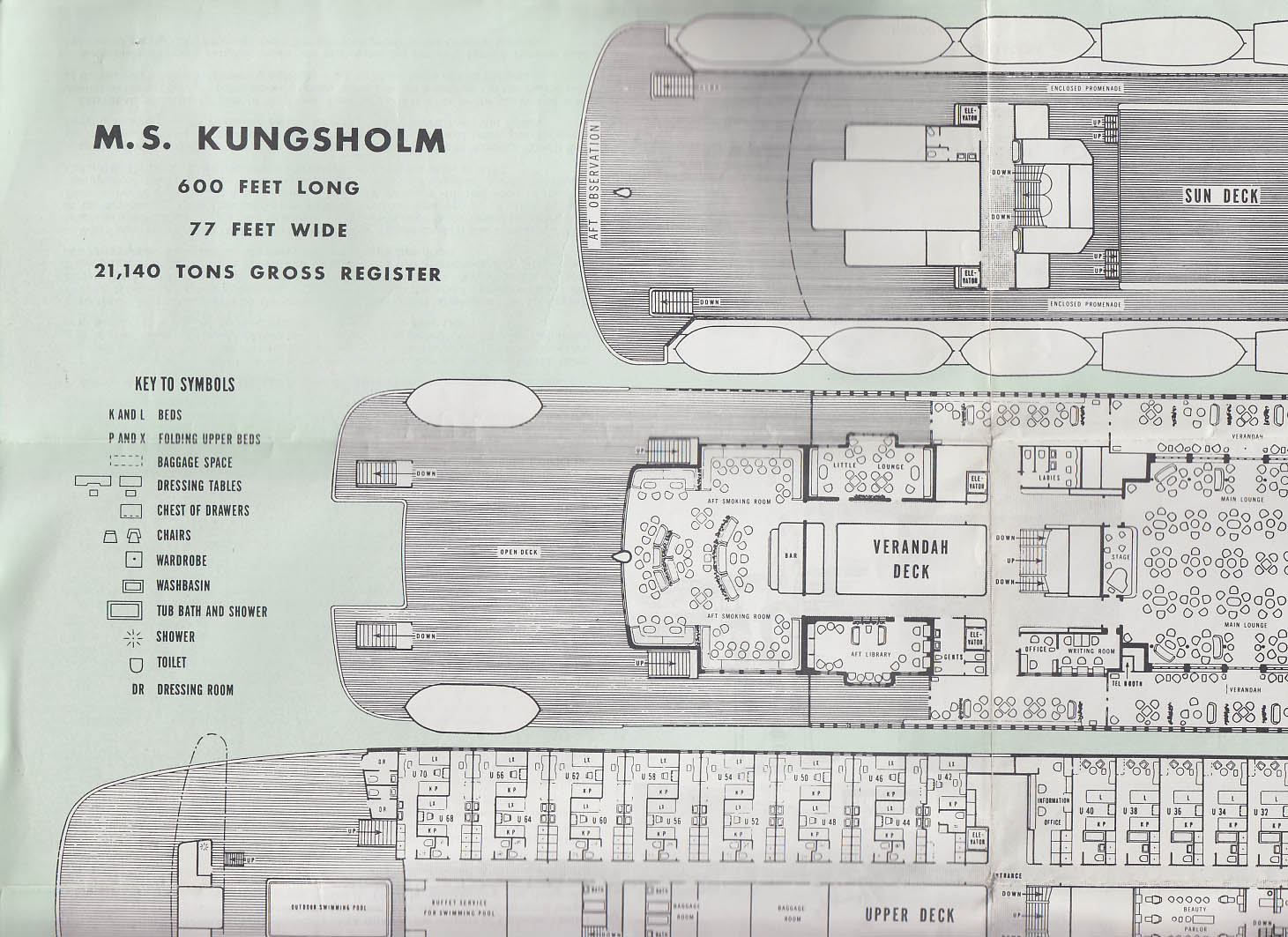 Swedish American Line M S Kungsholm Masonic Cruise brochure deck plan 1959
