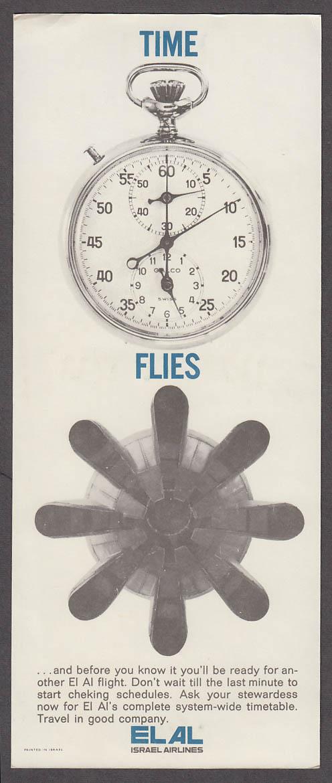 Image for Time Flies El Al Israel Airlines airline card ca 1960s