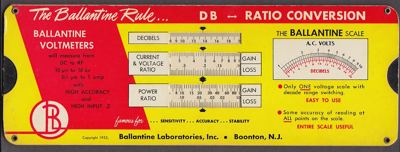 Ballantine Laboratories Rule DB-Ratio Conversion 1953 w/ folder & card