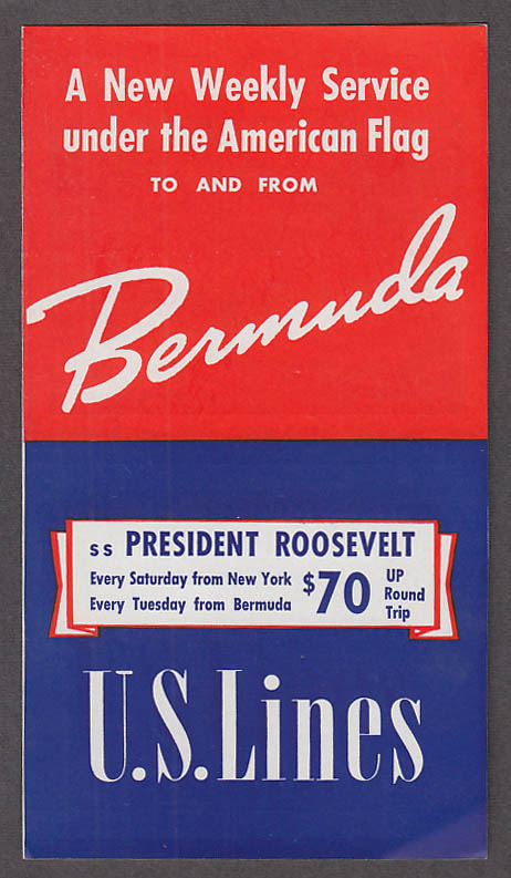 United States Lines S S President Roosevelt Weekly Service Bermuda folder 1939