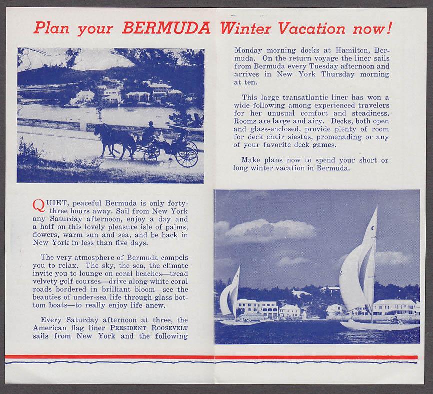 United States Lines S S President Roosevelt Weekly Service Bermuda folder 1939
