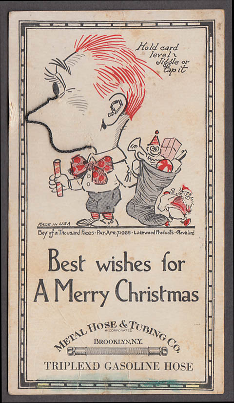 Image for Metal Hose Tubing Triplex Gasoline novelty Christmas card ca 1920