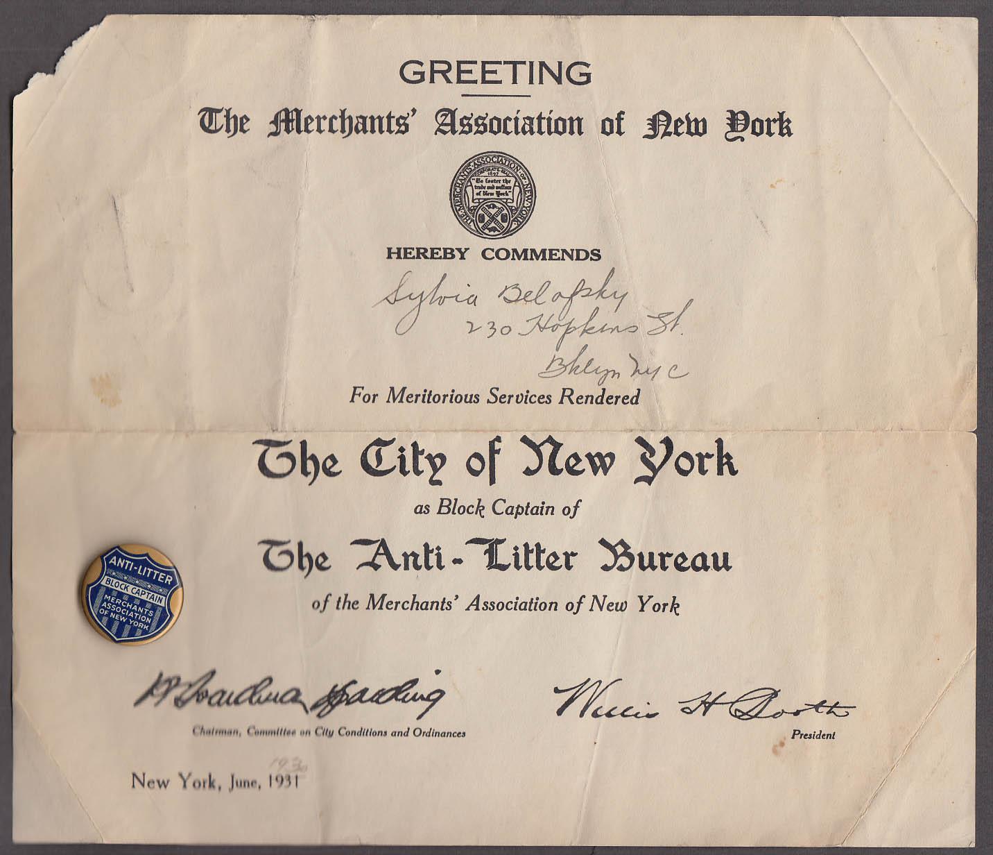 Image for Merchants Assn of NY Anti-Litter Bureau Block Captain certificate & button 1931