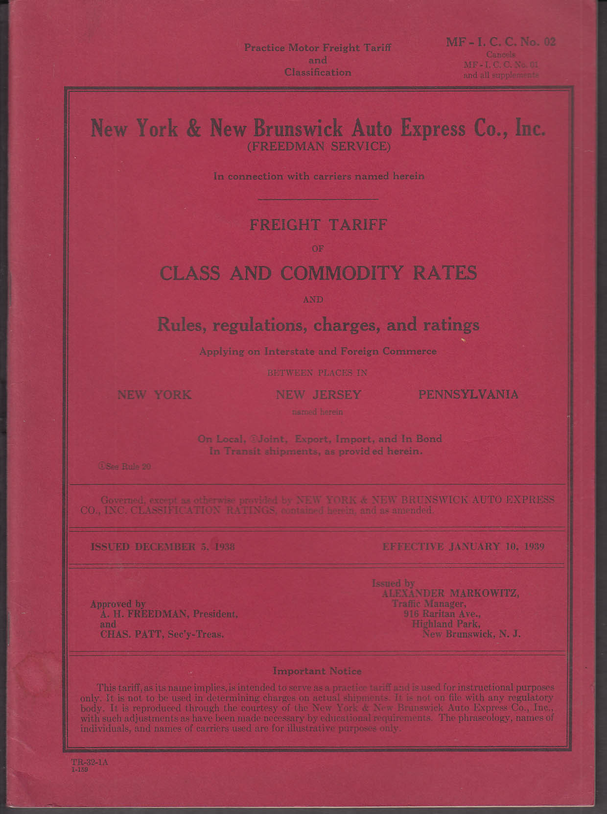 Image for New York & New Brunswick Auto Express Tariff & Commodity Rates book 1939