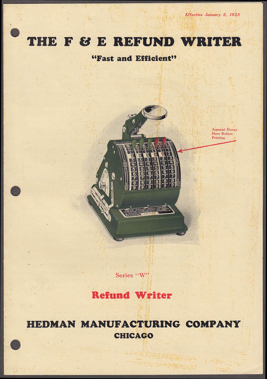 Image for Hedman Manufacturing F & E Refund Writer business machine sales folder 1925
