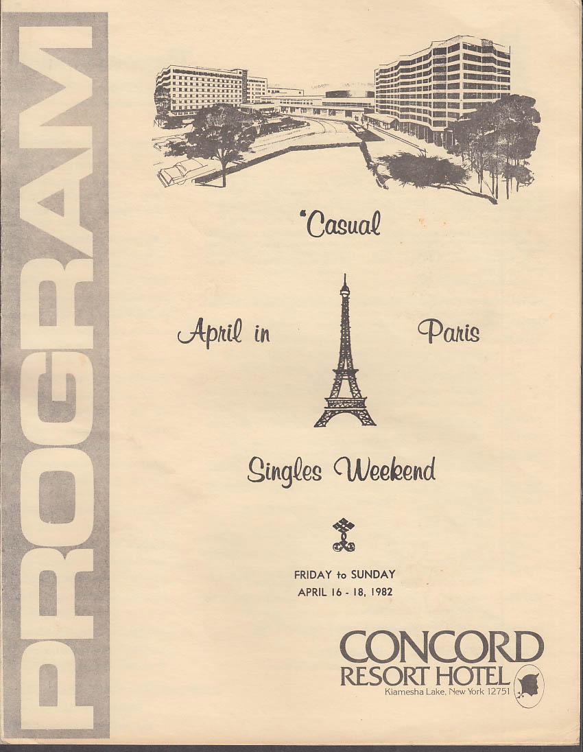 Image for Concord Resort Hotel April in Paris Singles Weekend Program 1982
