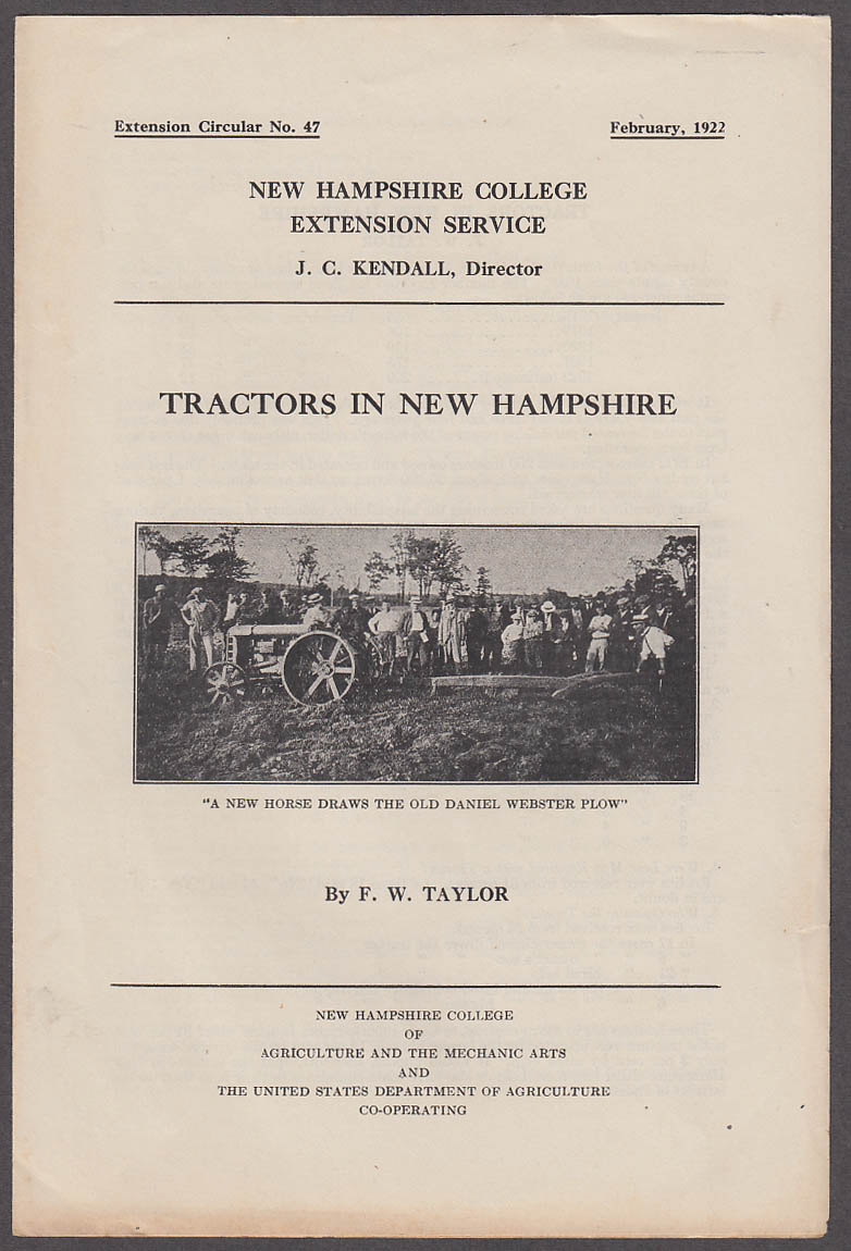 Tractors in New Hampshire NH College Extension Service Circular 2 1922