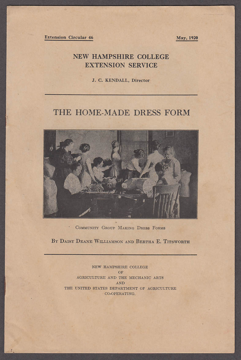 Image for The Home-Made Dress Form New Hampshire College Bulletin 1920