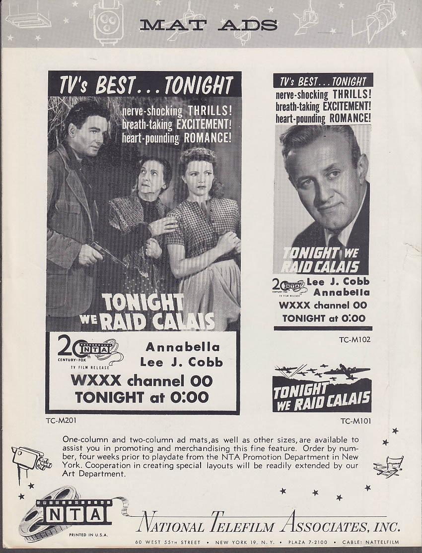 Image for Tonight We Raid Calais TV promo folder Lee J Cobb Annabella 1950s