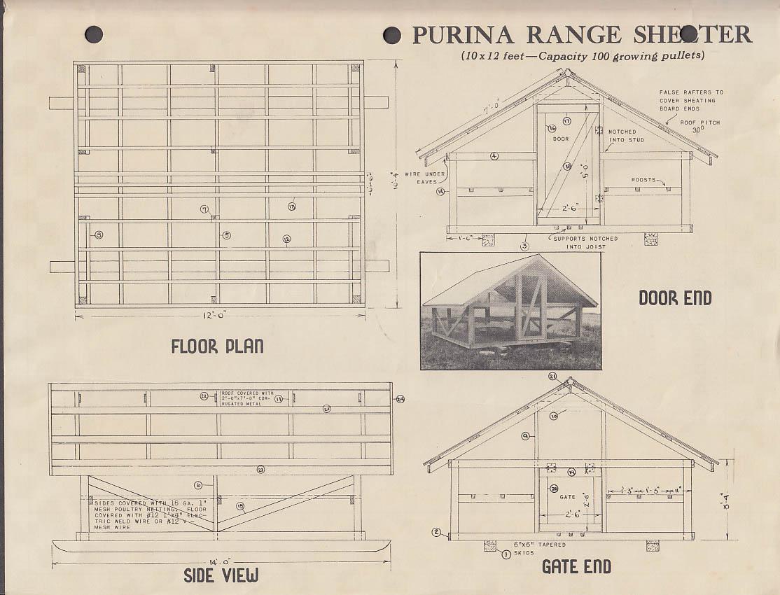 Purina Brooder House & Range Shelter Plans folder 1944