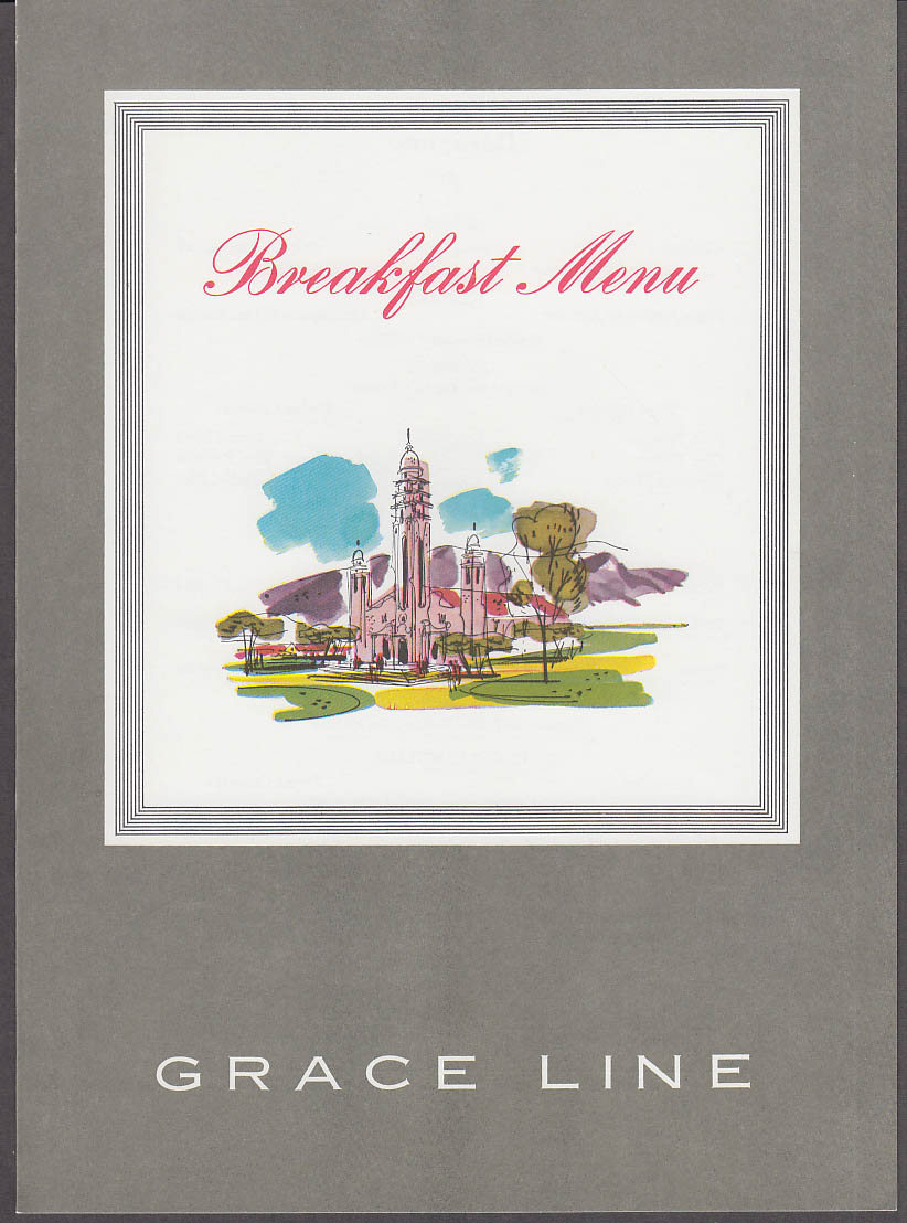 Image for Grace Line S S Santa Paula Breakfast Menu 12/24 1968