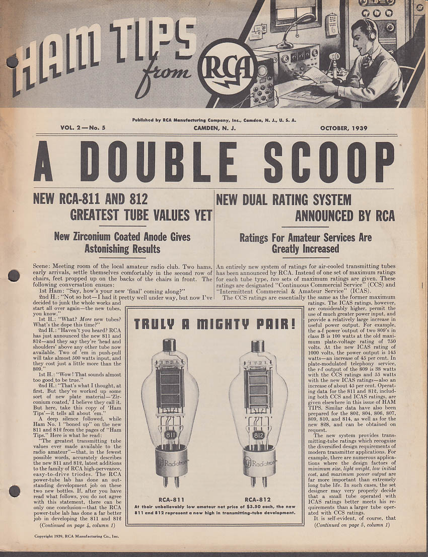 Image for Ham Tips from RCA 10 1939 RCA-811 & 812 tubes A-F R-F service