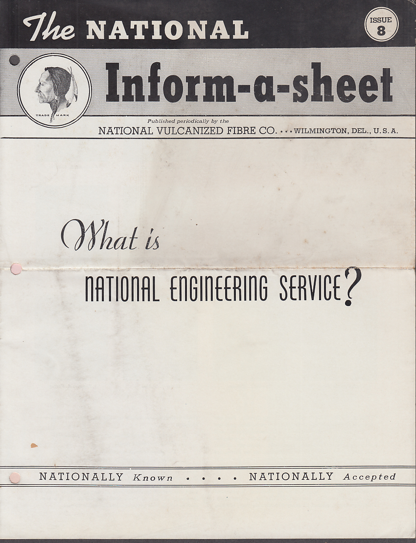 Image for National Vulcanized Fibre INFORM-A-SHEET #8 1940 Electrical Engineering Service