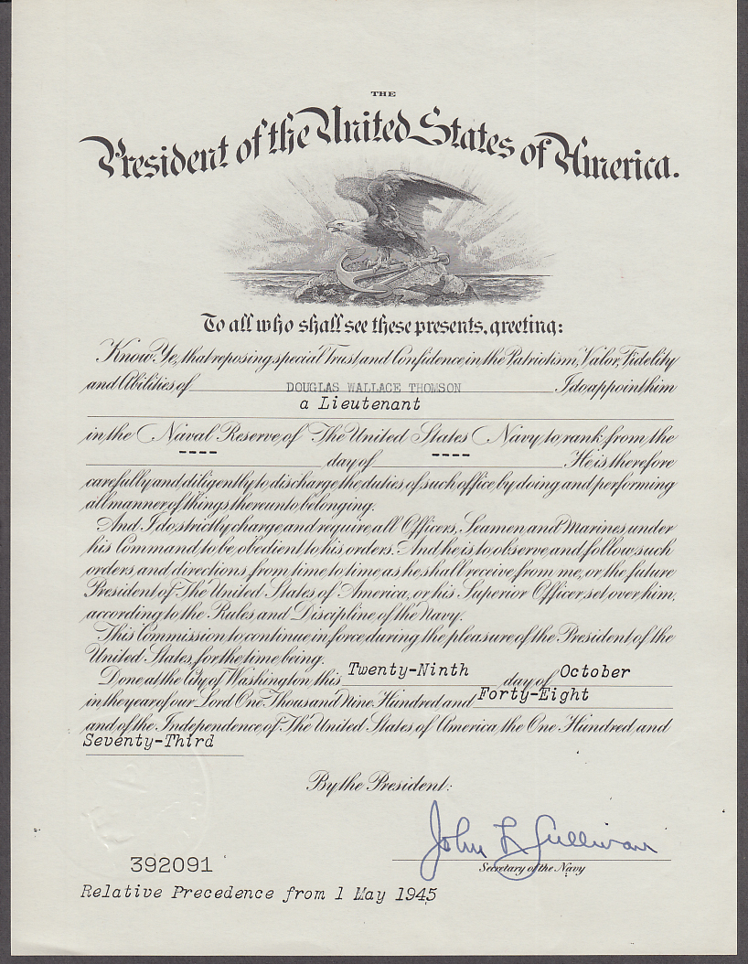 POTUS & Navy Dept Lieutenant Appointment 1948 John L Sullivan Sec'y Navy
