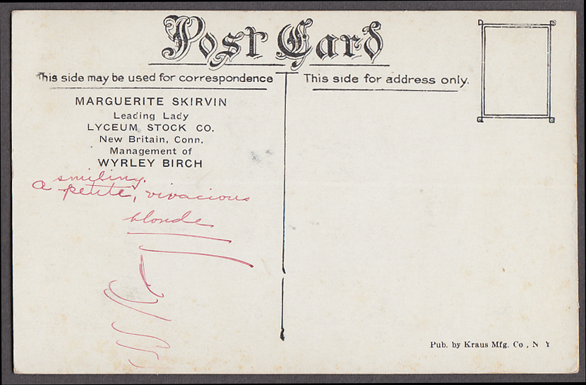 Image for Actress Margeurite Skirvin Lyceum Stock Co New Britain CT postcard 1910s
