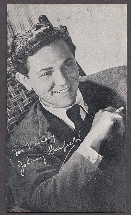Image for Actor Johnny John Garfield Warner Bros fan letter reply postcard 1955