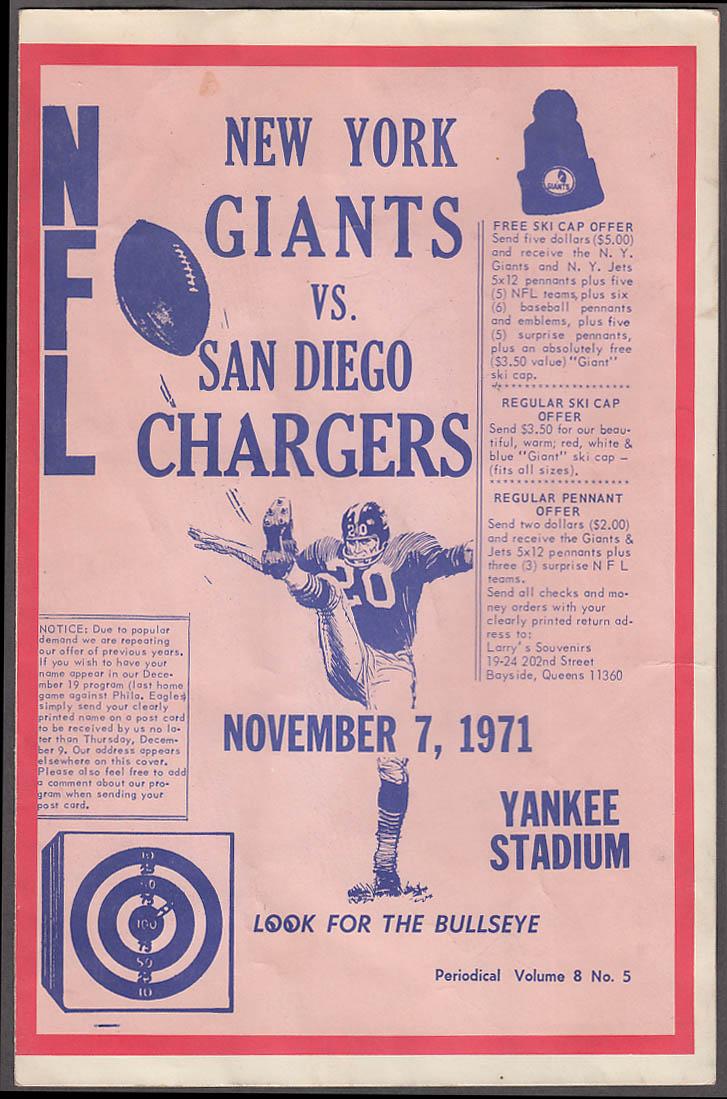 San Diego Chargers at New York Giants 1971 Bullseye Gambler Tout Sheet