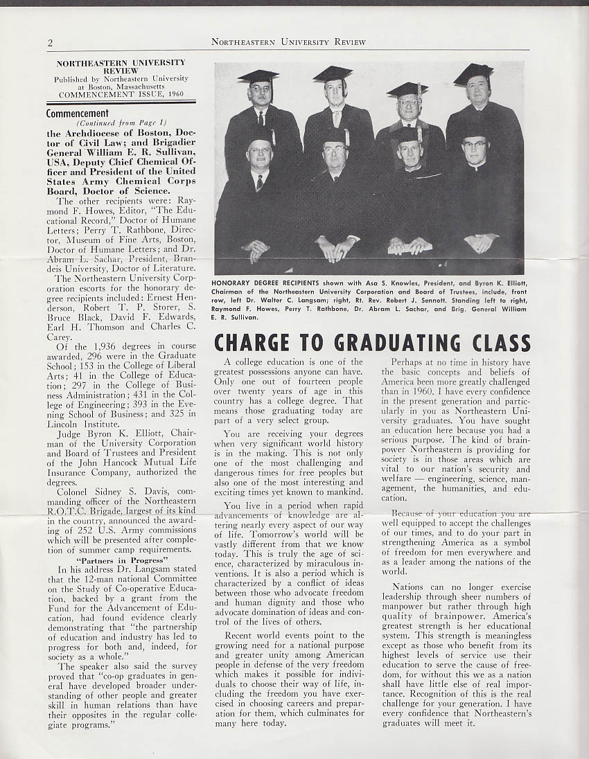 Image for Northeastern University REVIEW Commencement Boston Garden issue 1960