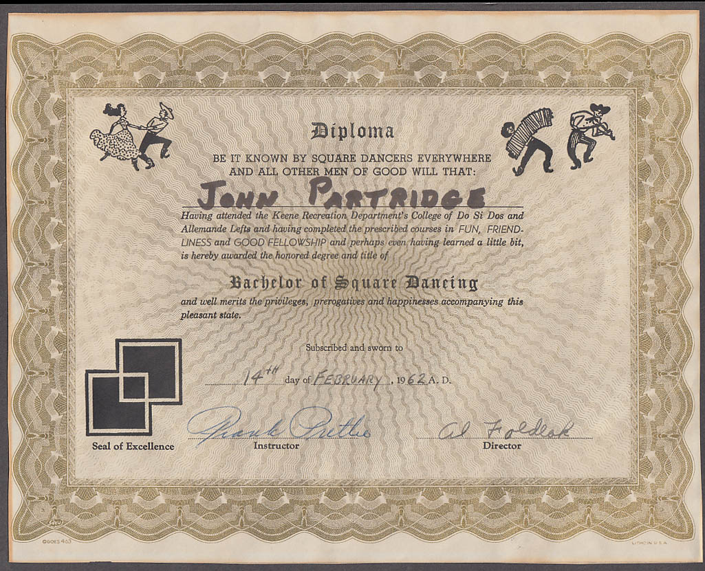 Image for Keene Recreation College of Do Si Dos Bachelor of Square Dancing Diploma 1962