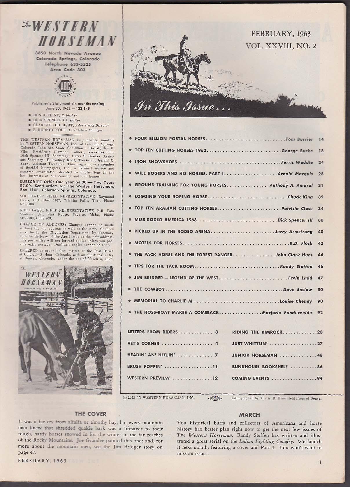 Image for WESTERN HORSEMAN Postal Horses Iron Snowshoes Will Rogers Jim Bridger + 2 1963