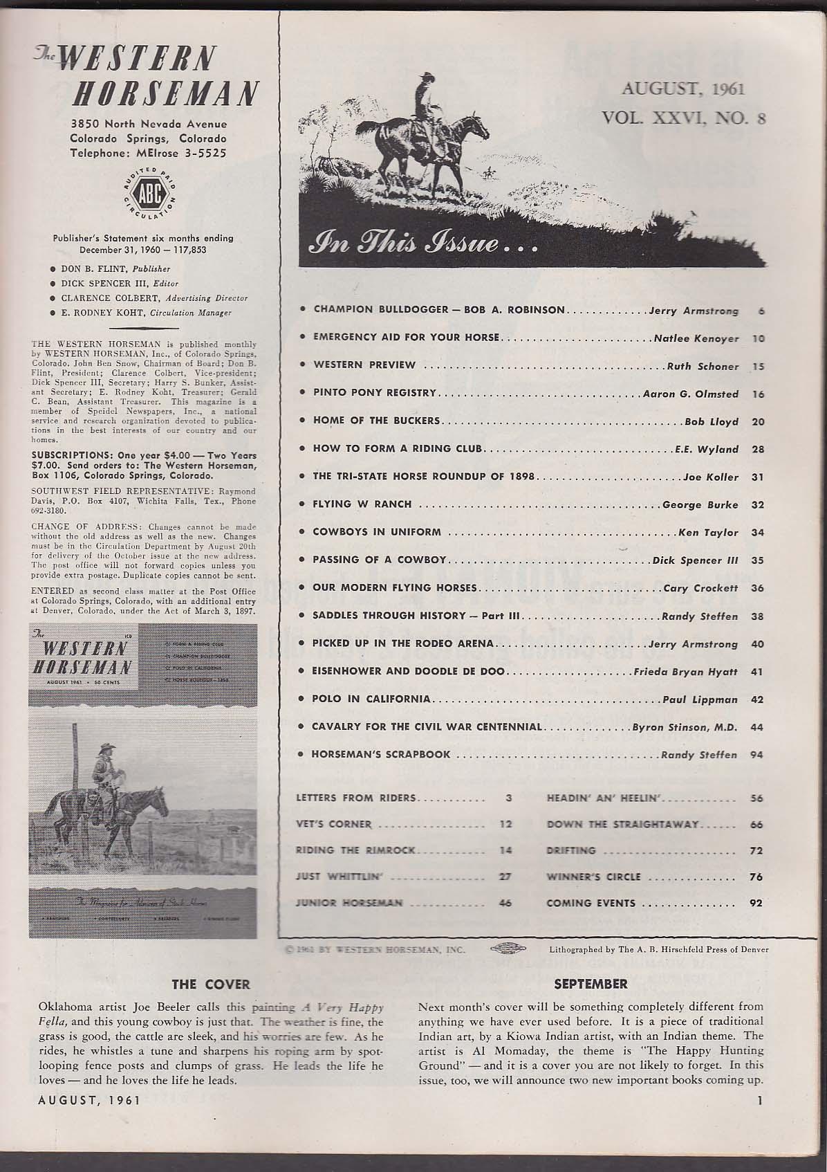 Image for WESTERN HORSEMAN Riding Clubs Champion Bulldogger California Polo ++ 8 1961