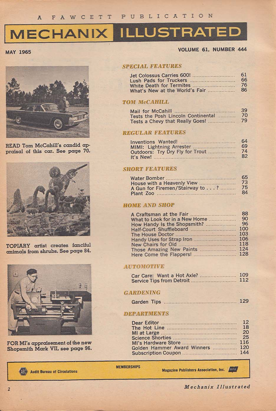 Image for MECHANIX ILLUSTRATED Lincoln Continental Chevrolet Chevelle road test 5 1965