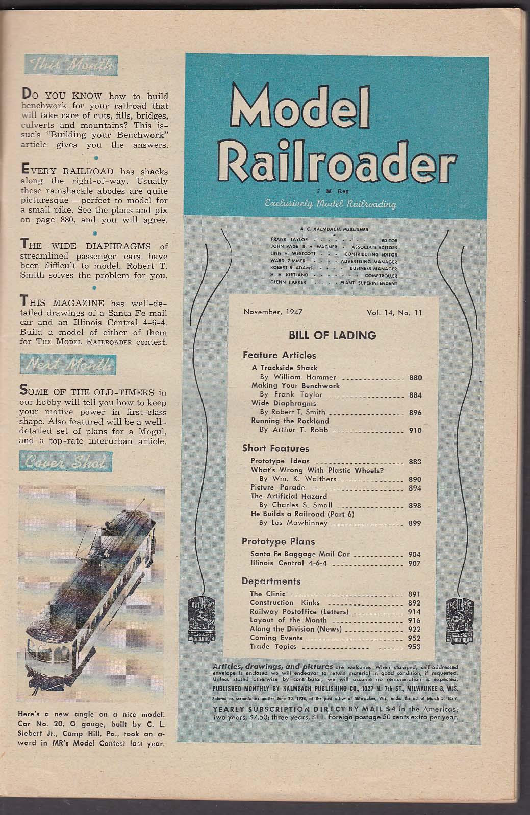 Image for MODEL RAILROADER Trackside Shack Wide Diaphragms Plastic Wheels ++ 11 1947
