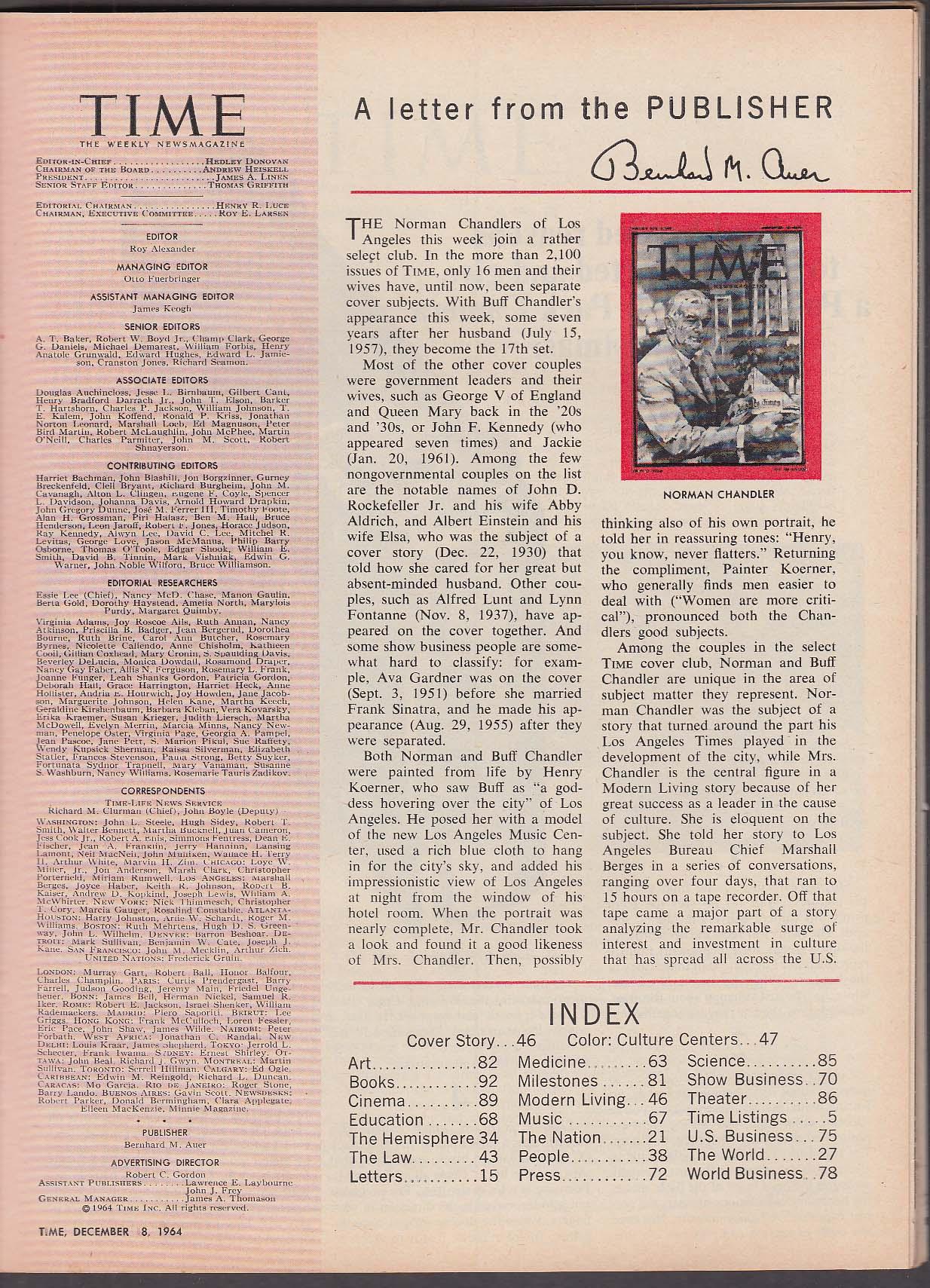 Image for TIME Los Angeles Buff Chandler Martin Luther King LBJ McNamara Congo 12/18 1964