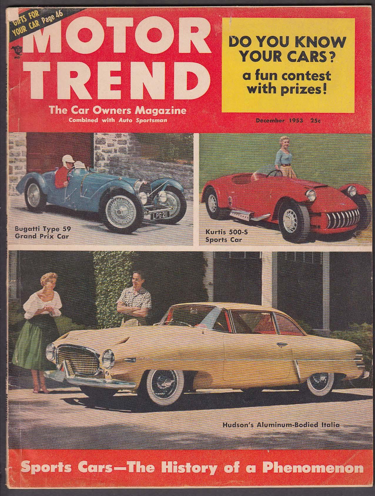 Image for MOTOR TREND 1954 Chrysler DeSoto Hudson Hornet Bugatti Type 59 ++ 12 1953