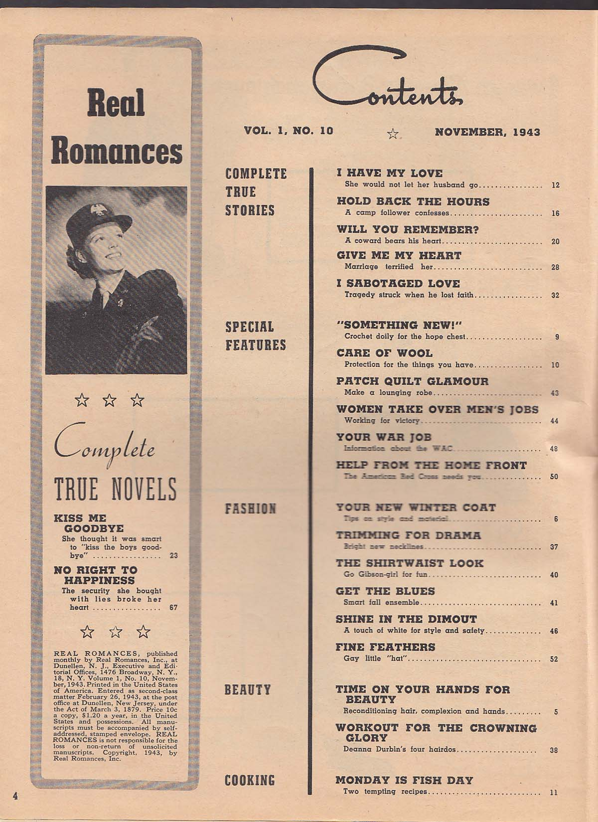 REAL ROMANCES Crochet; quilts; WAC; American Red Cross; beauty etc + 11 1943