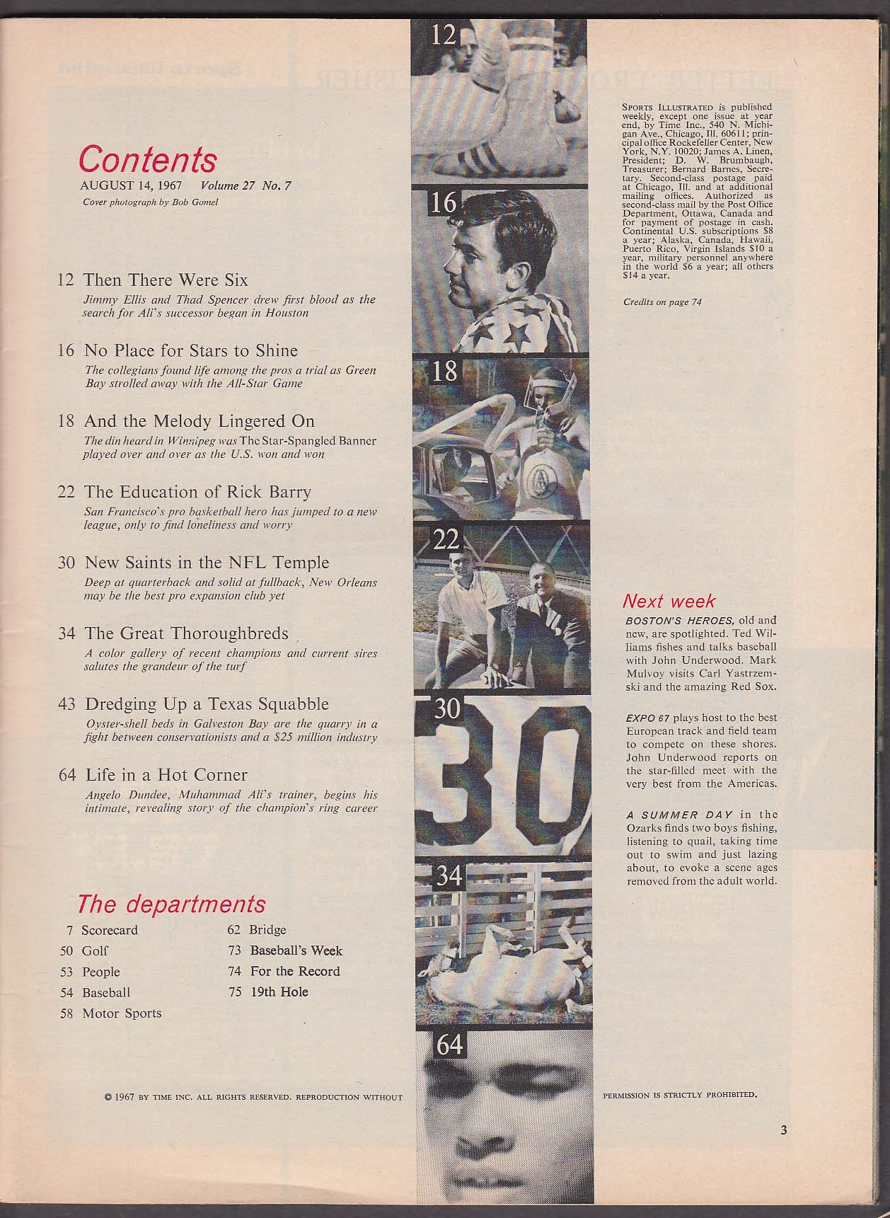 Image for SPORTS ILLUSTRATED Taylor Cuozzo Jimmy Ellis Thad Spencer Rick Barry 8/14 1967