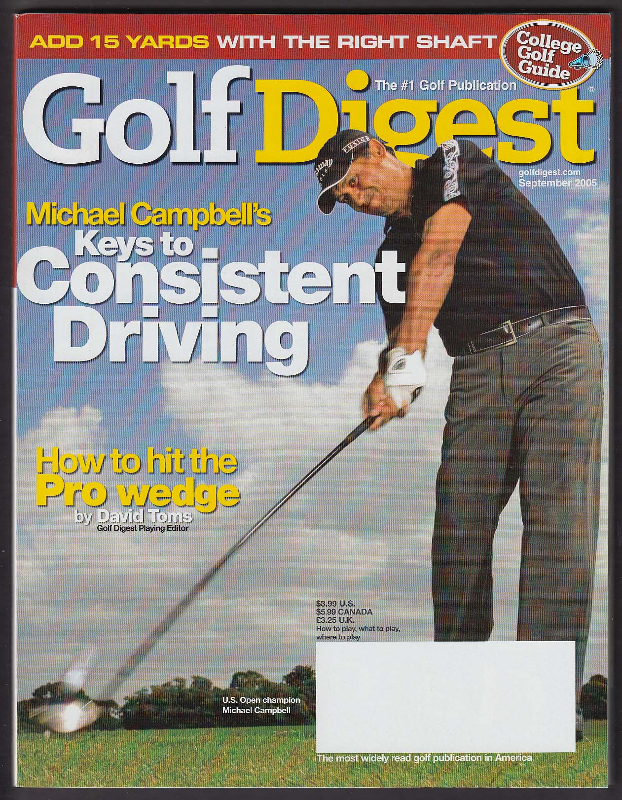 Image for GOLF DIGEST Michael Campbell Tiger Woods ++ 9 2005