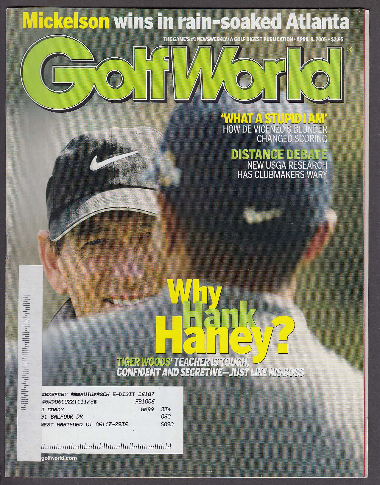 Image for GOLF WORLD Hank Haney Tiger Woods De Vicenzo Phil Mickelson 4/8 2005