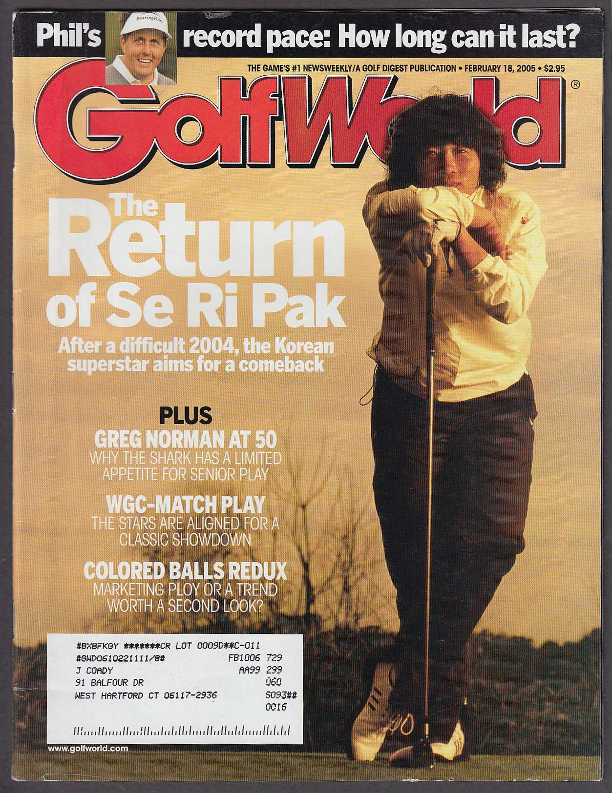 Image for GOLF WORLD Se Ri Pak Greg Norman Phil Mickelson 2/18 2005