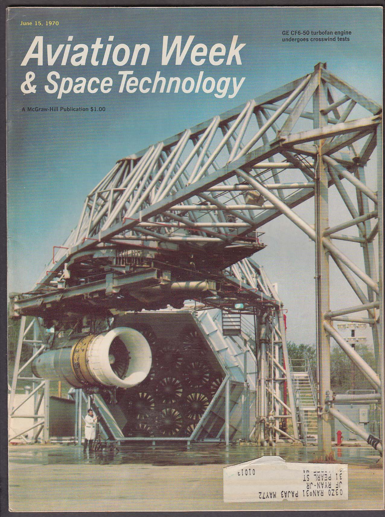 Image for AVIATION WEEK & Space Technology GE CF6-50 turbofan NASA Apollo 13 + 6/15 1970