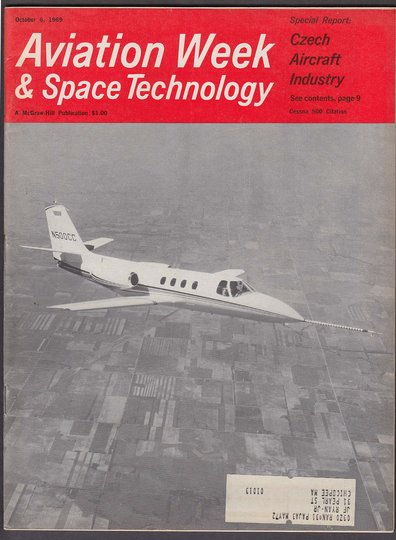 Image for AVIATION WEEK & Space Technology Czech Aircraft Apollo 12 Yak-40 FAA + 10/6 1969