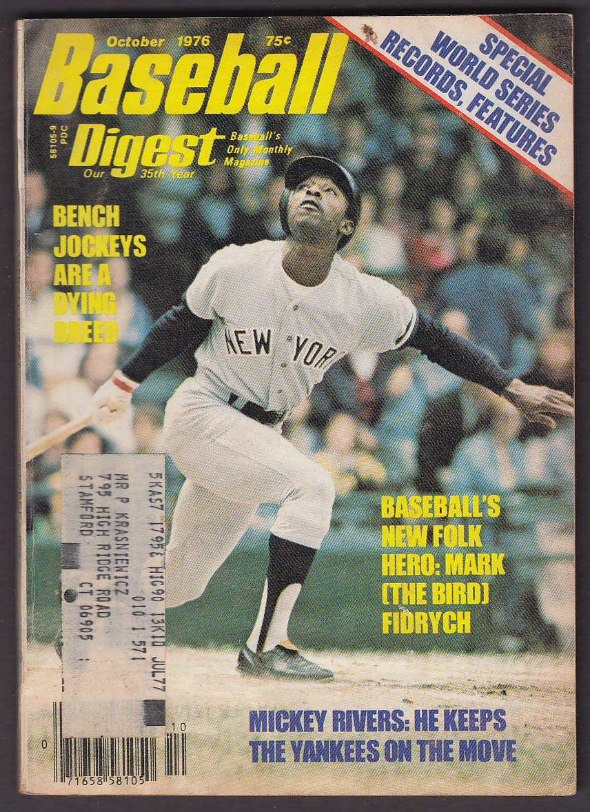 BASEBALL DIGEST Mark Fidrych Mickey Rivers Ewell Blackwell + 10 1976