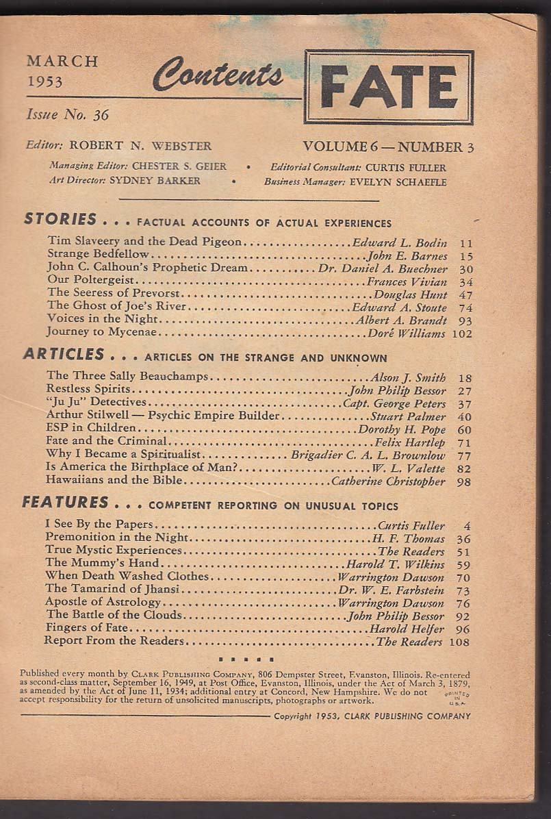 FATE #36 Tim Slaveery John C Calhoun Poltergeist GGA 3 1953