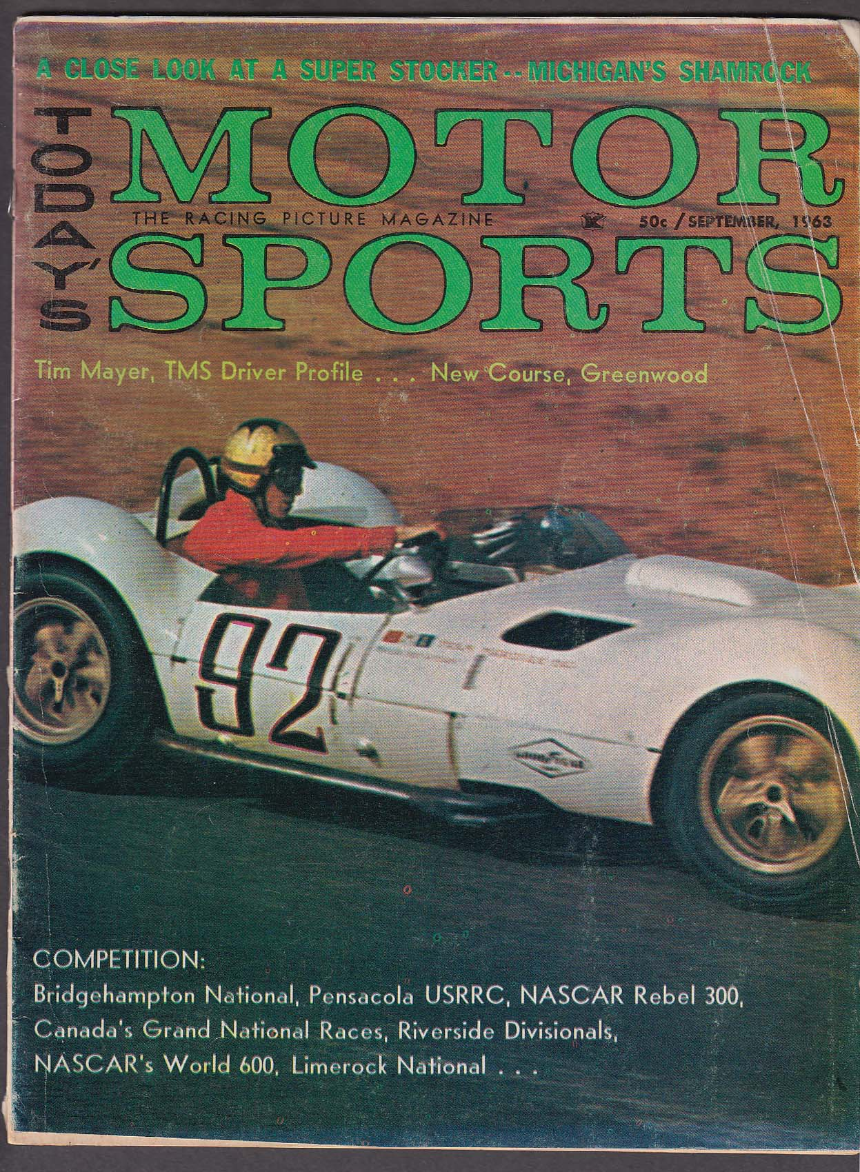 MOTOR SPORTS Tim Mayer NASCAR SCCA Super Stocker Shamrock + 9 1963