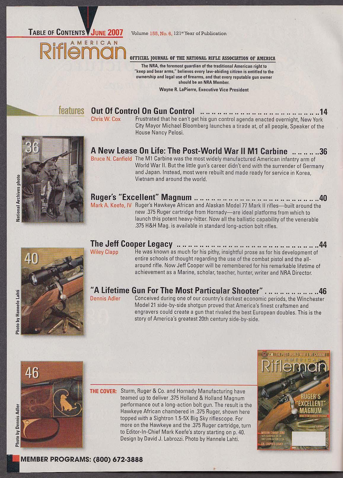 AMERICAN RIFLEMAN Ruger 77 .375 Magnum 1875 Schofield 1887 Shotgun ++ 7 2007