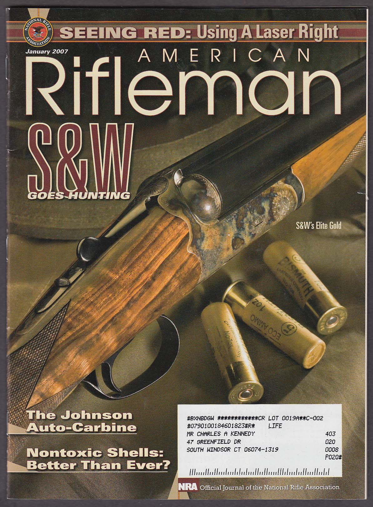 AMERICAN RIFLEMAN Smith & Wesson Elite Gold Johnson Auto-Carbine + 1 2007