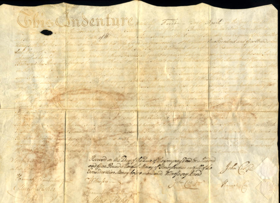 1782 Indenture on vellum John & Hannah Cox & Joseph Baldesque Burlington NJ